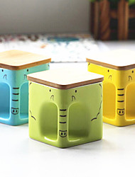 2PCS 350ML Creative Brief Vogue Of Square Wooden Cover Cup Like Ceramic Mug Cup For Breakfast(Random Color)