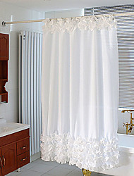 Polyester White Lace Shower Curtain