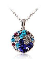 HKTC Valentine's Glittering Colourful Purple Crystal Round Pendant Necklace Platinum Plated CZ Diamond Jewelry