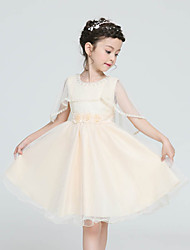 A-line Knee-length Flower Girl Dress - Polyester Satin Tulle Jewel with Bow(s) Sash / Ribbon