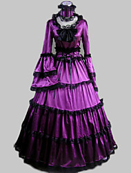 One-Piece/Dress Classic/Traditional Lolita Vintage Inspired Cosplay Lolita Dress Purple Vintage Long Sleeve Long Length Dress Collar For