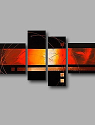 """Stretched (Ready to hang) Hand-Painted Oil Painting 64""""x44"""" Canvas Wall Art Modern Abstract Black Orange Golden"""