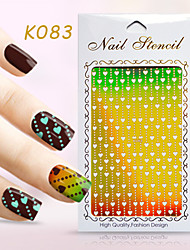 New Nail Art Hollow Stickers Flower Heart Star Aminal Footmark Geometric Image  Design  Nail Art Beauty K081-090