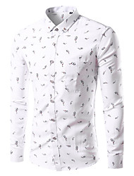 Men's Casual Slim Small Glasses Pattern Printing Long Sleeved Shirt,Cotton / Polyester Casual / Plus Sizes Print