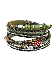leather Charm BraceletsFashion Trendy 3 Rows Chain/Natural Stone/ Beads Bracelet Leather Wrap Bracelet