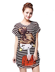 Tee-shirt Aux femmes,Imprimé Sortie Chic de Rue Eté Manches Courtes Col Arrondi Orange Rayonne Fin