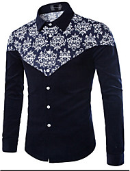 Men's Patchwork Casual Shirt,Cotton Long Sleeve Blue / Green