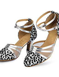 Customizable Women's Dance Shoes Latin / Modern Leather Stiletto Heel Silver
