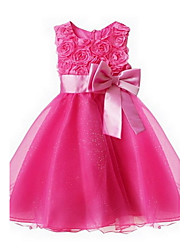 New Baby Girls Floral Accessiroies Evening Party/ Wedding Princess Dress with Adjusted KnotBow Waistline For SZ 2~8Y