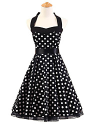 50s Era Vintage Style Halterneck Rockabilly Dress Cosplay Costume Black White Polka Dot (with Petticoat)