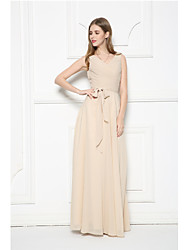 Floor-length Chiffon Bridesmaid Dress-Champagne A-line V-neck