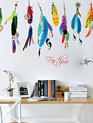 3D Wall Stickers Wall Decals Style Colored Feathers Waterproof Removable PVC Wall Stickers