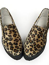 Punk Fauxfur 5 Tacón Cuña Marrón Zapatos de Lolita