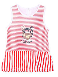 Girl's Red Dress,Stripes / Cartoon Cotton Summer