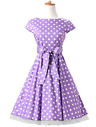 50s Era Vintage Style Cap Sleeves Rockabilly Dress Cosplay Costume Purple White Polka Dot (with Petticoat)