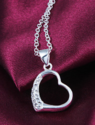 "Noble Sweetheart  Big ""Heart"" CZ Stone Silver Necklace Pendant For Women"