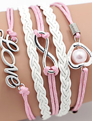 Leather Bracelet pink pearl Love Bracelet Inspirational Bracelets Friendship Bracelet Multilayer Jewellery Jewelry for Women ,1 pcs Christmas Gifts