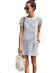 Women's Simple / Street chic Going Out Classic Fashion Loose Casual All Match Striped Sheath Dress,Round Neck Mini