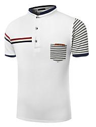 Men's Short Sleeve Polo,Cotton Casual / Formal Striped