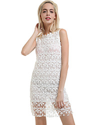 Women's Solid/Lace White Dress, Sheath Mini Round Neck Sleeveless
