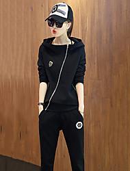 Damen Hoodies Sport Aktiv Solide Weiß / Schwarz Polyester