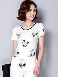 2016 Summer Women New Black/White Short-Sleeved T-Shirt, Hot Drilling Printing Head (Cotton)