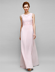 Lanting Bride Sheath / Column Mother of the Bride Dress Floor-length Sleeveless Chiffon with Beading