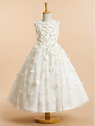 A-line Tea-length Flower Girl Dress - Tulle Sleeveless Jewel with Flower(s)