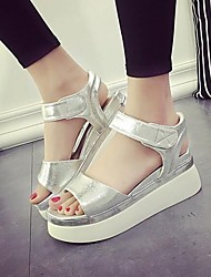 Women's Shoes Patent Leather Platform Peep Toe / Comfort Sandals Dress / Casual Silver / Gold