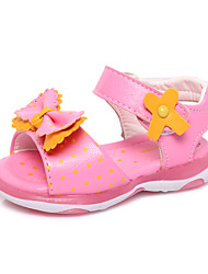 Girls' Shoes Outdoor / Casual Leatherette Sandals Summer Peep Toe / Gladiator Flat Heel Applique Pink / White / Burgundy