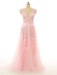 Formal Evening Dress A-line V-neck Floor-length Lace / Tulle with Appliques / Lace