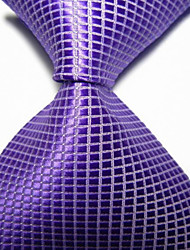 New Violet Checked JACQUARD WOVEN Men's Tie Necktie TIE2021