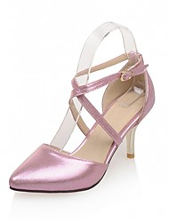 Розовый / Серебристый / Золотистый-Женская обувь-Свадьба / Для офиса / Для вечеринки / ужина-Дерматин-На шпильке-На каблуках-Обувь на