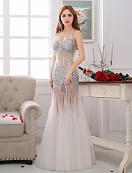 Mermaid / Trumpet Spaghetti Straps Floor Length Tulle Formal Evening Dress with Beading Crystal Detailing Sequins