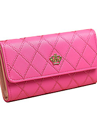 Women Long Wallet PU Leather Geometry Crown Solid Color Button Coin Purse Card Holder
