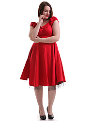 Women's Party/Cocktail Vintage Swing Dress,Solid / Polka Dot V Neck Knee-length Sleeveless Blue / Red / Black / Gray Cotton Fall