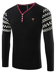 Print-Informeel / Sport-Heren-Katoen-T-shirt-Lange mouw Zwart / Wit / Beige