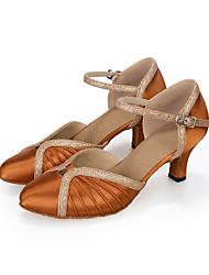 Scarpe da ballo-Personalizzabile-Da donna-Balli latino-americani-Tacco a rocchetto-Finta pelle-Blu / Marrone / Rosso