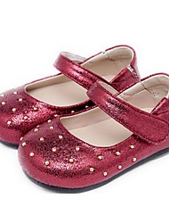 Girls' Shoes Dress / Casual Mary Jane Leather Flats Black / Purple / Gold / Burgundy