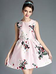 Vintage Fashion Summer Slim Women Elegant Simple Print Flowers Casual Sleeveless Plus Size Bubble Dress