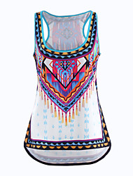 Women's S-5XL Plus Size Print Multi-color Tanks,Round Neck Sleeveless