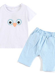 Girl's Clothing Set,Cotton Summer Blue / White