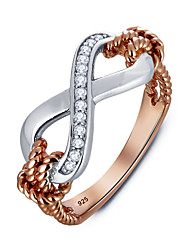 Copper with Gold Plated Women Jewelry Fashion High Quality 8-shaped Rings with Diamonds Perfect Gift For Girls