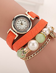Xu™ Ladies' Fashion The Chain Pearl Diamonds Bracelet Quartz Watch