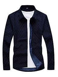 Men's Long Sleeve Shirt,Cotton Casual / Formal Plaids