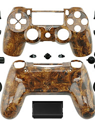 Replacement Controller Case for PS4 Controller (Dark Color Wood Grain)