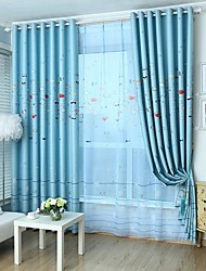 Two Panels Cartoon Kids Room Polyester Blackout Curtains Drapes