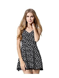 Women's Cute Floral A Line Dress,V Neck Mini Polyester
