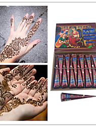 KAVERI Brown Henna Cones Jagua Ink for Temporary Tattoo and Body Art Herbal