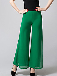 Women's Solid Blue / Black / Green Wide Leg Pants,Vintage / Simple